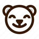avatar, bear, emoji, face, profile, satisfied, teddy icon