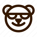 avatar, bear, emoji, face, profile, sunglasses, teddy icon