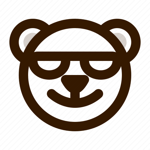avatar, bear, emoji, face, profile, sunglasses, teddy icon