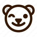 avatar, bear, emoji, face, profile, teddy, wink icon