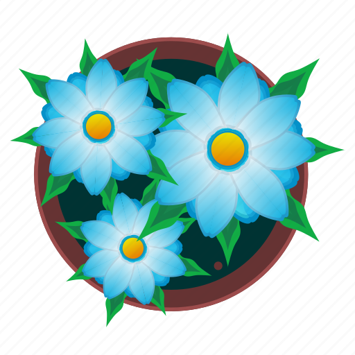 beautiful, flowers, plant, pot icon