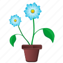 blue, bud, flower, leaf, plant, pot icon