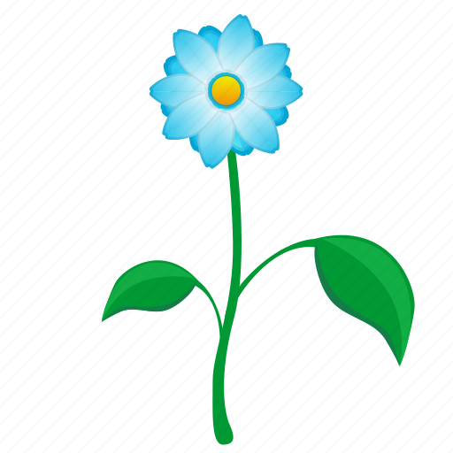 blue, flower, leaf, plant, present icon