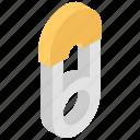 fashion, household, needle, open, safety pin icon