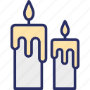 burning candles, candle light, decorative candle, light stand, spa candles icon