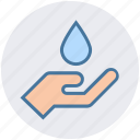 drop, drop on hand, ecology, hand, lotion, spa, water icon