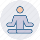 exercise, levitate, lotus, man, meditation, people, yoga icon
