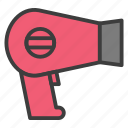 beauty, dryer, filled, hair, hair dryer, haircut, hairstyle, line icon