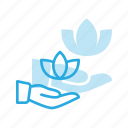 hand, herbal, lotus, spacare, therapy icon