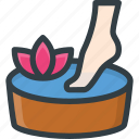 bucket, feet, foot, herbal, pedicure, therapy, wellness icon