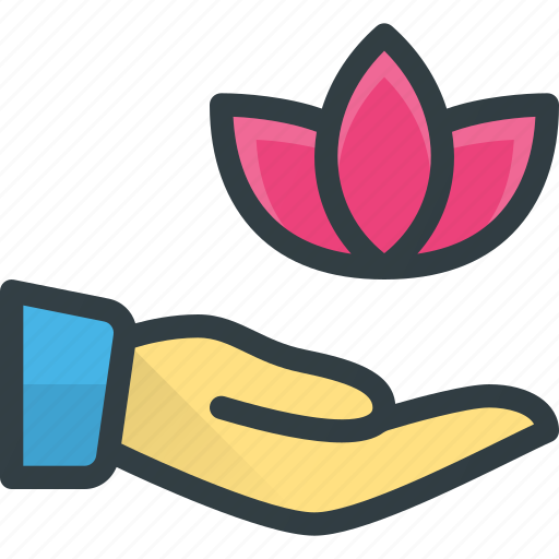 care, hand, herbal, lotus, spa, therapy icon