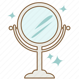beauty, cosmetic, glass, hand-mirror, looking glass, makeup, mirror icon