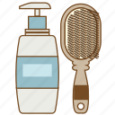 body wash, comb, fashion, hairbrush, lotion, lotion bottle, shampoo icon