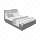 bed, blanket, design, furniture, interior, model, pillow icon