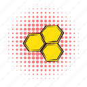 nature, comics, hive, bee, honey, hexagon, honeycomb icon