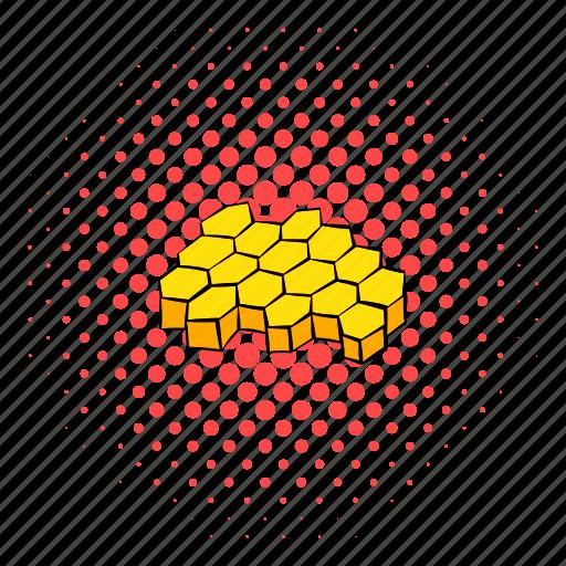 bee, comics, hexagon, hive, honey, honeycomb, nature icon