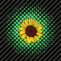 comics, flower, garden, natural, nature, plant, sunflower icon