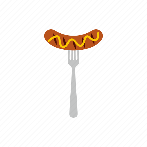 background, barbecue, food, fork, grilled, line, sausage icon