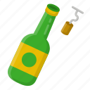 and, beer, corkscrew icon