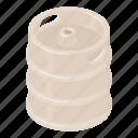 barrel, beer, cartoon, isometric, keg, stainless, steel