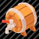 alcohol, barrel, beer, cartoon, isometric, tap, wood