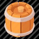 alcohol, barrel, beer, cartoon, isometric, wood, wooden
