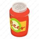 alcohol, beer, beverage, can, cartoon, isometric, tin