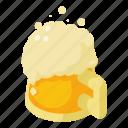 alcohol, beer, cartoon, glass, isometric, mug, pint icon