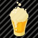 beer, cartoon, fresh, glass, isometric, mug, pint