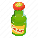 alcohol, beer, bootle, bottle, cartoon, green, isometric icon