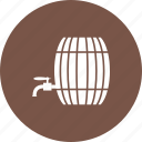 barrel, container, old, storage, tap, water, wood icon