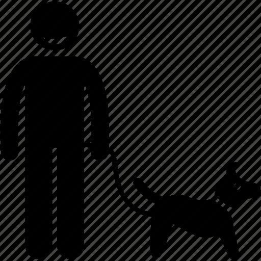 dog, leash, man, master, owner, pet icon