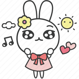 bella, bunny, cartoon, character, happy, rabbit, singing icon
