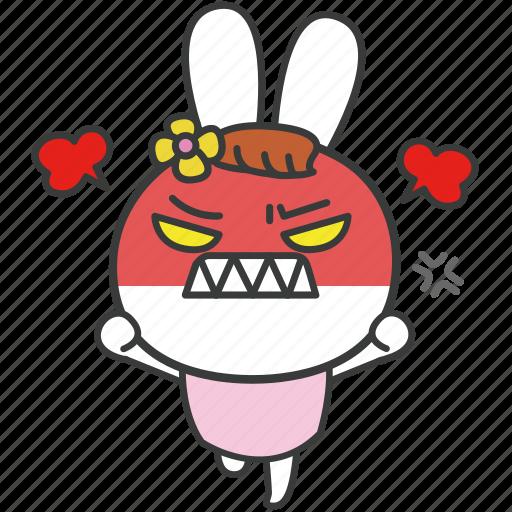 angry, bella, bunny, cartoon, character, rabbit, upset icon