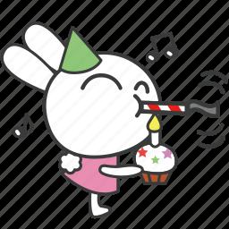 bella, bunny, cartoon, character, congrates, party, rabbit icon