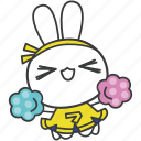 bella, bunny, cartoon, character, cheerleading, rabbit, uniform icon