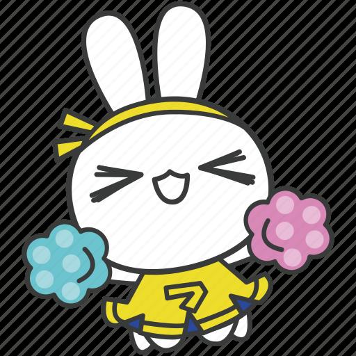 bella, bunny, cartoon, character, cheerleading, rabbit, uniform icon