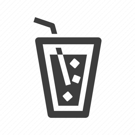 drink, ice, straw, water icon