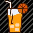 outline, colour, drink, coloured, juice, orange, food icon