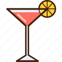 colour, coloured, food, lemon, martini, outline, pink icon