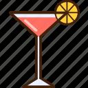 pink, lemon, outline, colour, coloured, martini, food icon