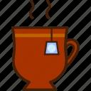 outline, cup, tea, colour, coloured, hot, food icon