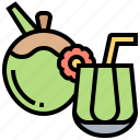 beverage, coconut, drink, glass, juice icon