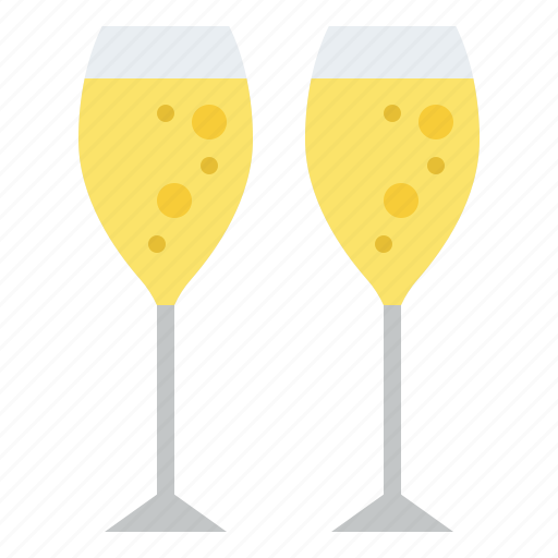 beverage, champagne, drink, glasses icon