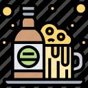 beer, bottle, foam, alcohol, beverage