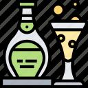 champagne, sparkling, bottle, cognac, celebration