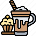 espresso, frappe, smoothies, sweet, muffin