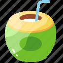 coconut, coconut juice, drink, juice, organic, summer, tropical icon