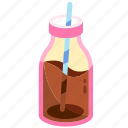 beverage, bottle, chocolate, drink, glass, glass of chocolate milk bottle, milk