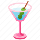 cocktail, drink, glass, margarita, martini, olive, tropical
